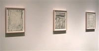 eve aschheim installation of drawings (checklist 4. - 6.)<br>[right to left] by eve aschheim